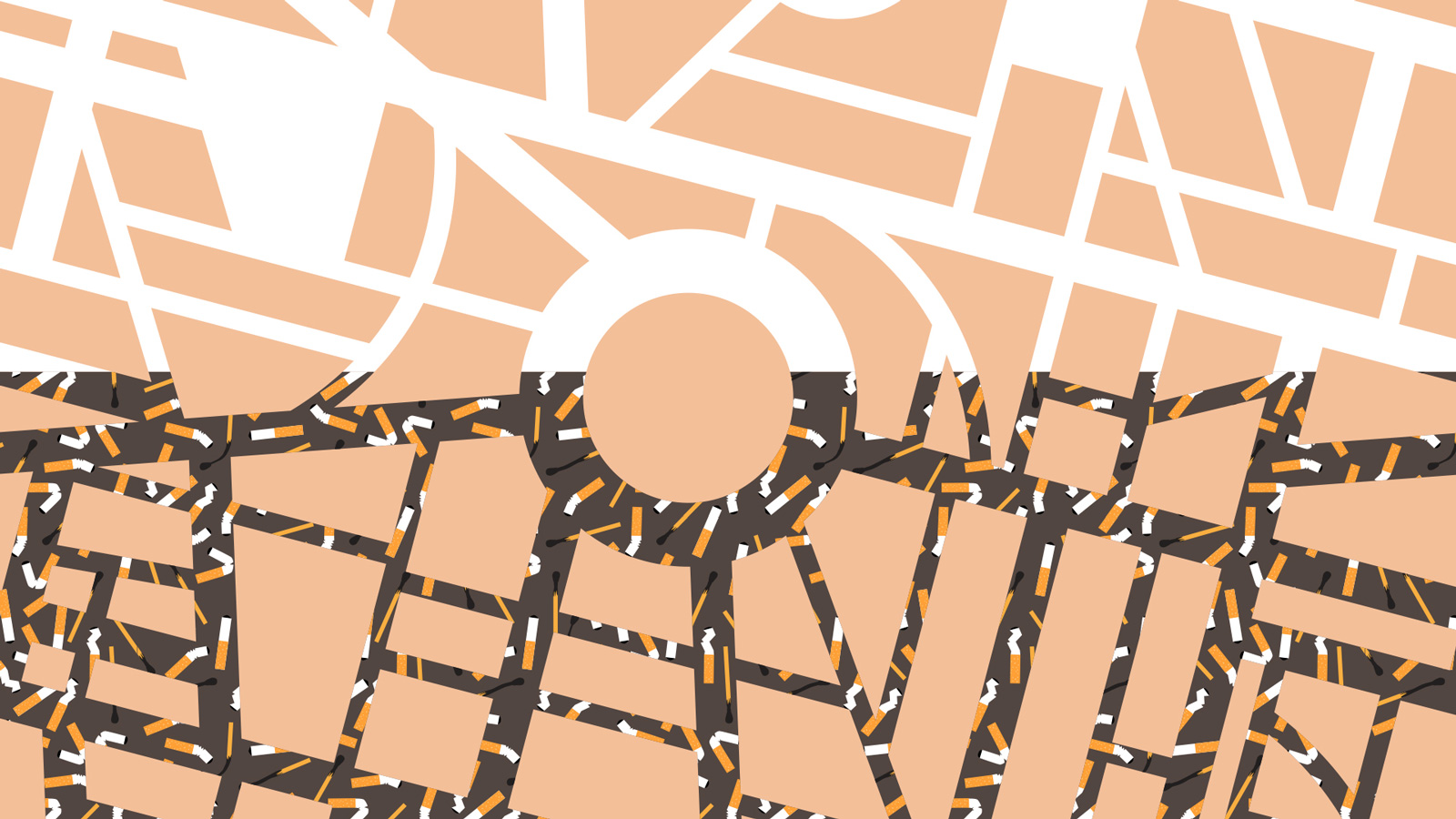 Illustration of streets with cigarette buds
